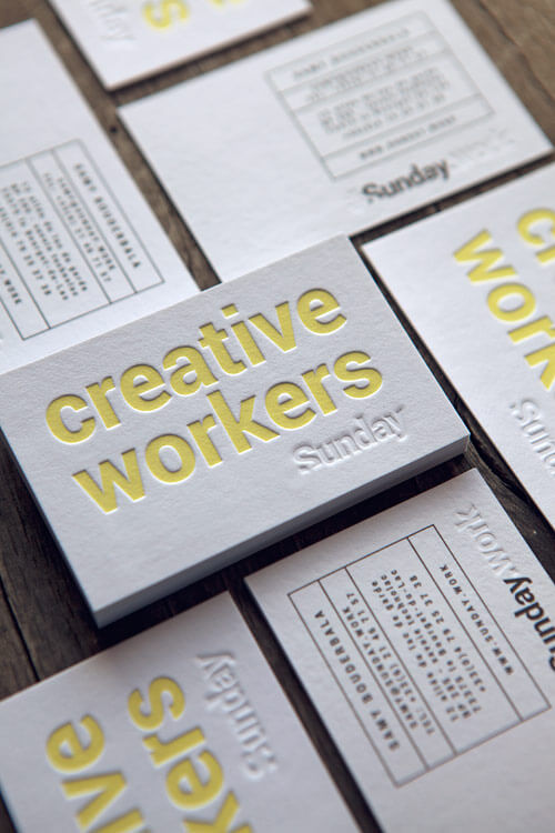 creative letterpress business card