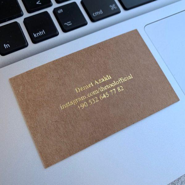 kraft kağıda varak baskı özel kartvizit