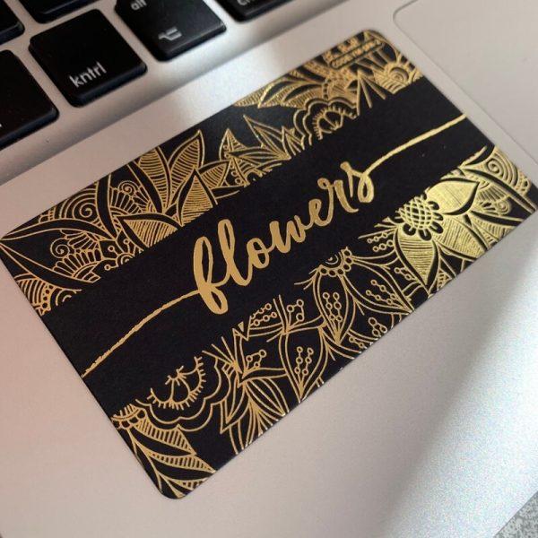 varak yaldız lüks özel kartvizit flower