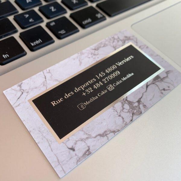 güzellik salonu özel gümüş varak yaldız kartvizit