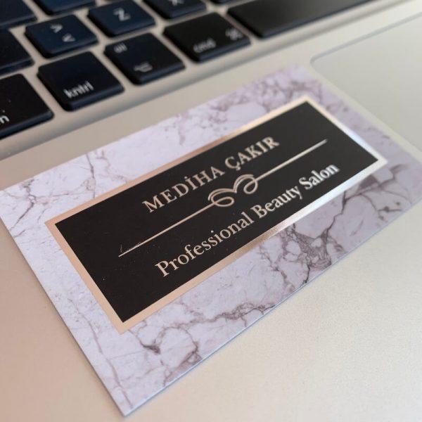 gümüş varak yaldız lüks özel kartvizit güzellik salonu